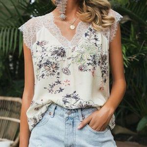 Tops - CARA Floral Print Lace Detail Blouse